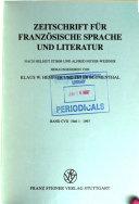 Zeitschrift f  r franz  sische Sprache und Litteratur