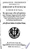 Ebook Observationum Liber Novus Epub Johannes Fredericus Gronovius Apps Read Mobile