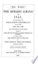 Poor Richard S Almanac For 1850 52