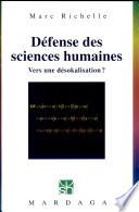 D  fense des sciences humaines
