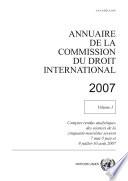 Annuaire De La Commission Du Droit International 2007 Vol I