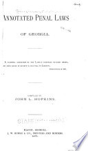 Annotated Penal Laws Of Georgia