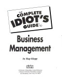 The Complete Idiots Guide to Business Management