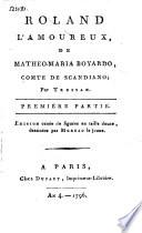 Roland l'amoureux, de Matheo-Maria Boyardo, comte de Scandiano