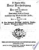 Kurze Vertheidigung der Hex  und Zauberey wider eine dem heiligen Kreutz zu Scheyrn nachtheilig Akademische Rede  welche den 13  October 1766 von     Ferdinand Sterzinger     abgelesen worden