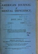 American Journal Of Mental Deficiency