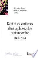 Kant et les kantismes dans la philosophie contemporaine