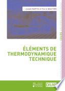 Éléments de thermodynamique technique
