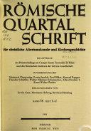 R  mische Quartalschrift f  r christliche Altertumskunde und Kirchengeschichte