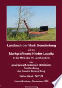Landbuch Der Mark Brandenburg Und Des Markgrafthums Nieder Lausitz Dritter Band Teil Ii