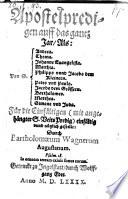 Apostelpredigen auff das gantz Jar, als von S. Andrea, Thoma, Johann Evangelista (etc.)