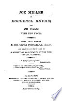 Joe Miller in doggerel rhyme  Done into rhyme by Sir Peter Pillgarlick  etc