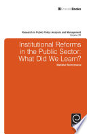 Institutional Reforms In The Public Sector