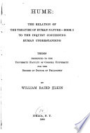 Hume: the Relation Fo the Treatise of Human Nature--