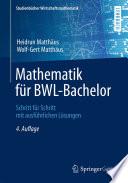 Mathematik f  r BWL Bachelor