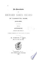 The Descendants of Richard Sares  Sears  of Yarmouth  Mass   1638 1888