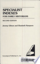 Specialist Indexes for Family Historians