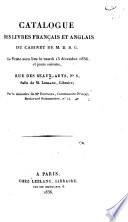 Catalogue des livres fran  ais et anglais du cabinet de M D B G
