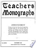 New York Teachers  Monographs