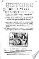 Histoire de la ville de Montpellier  par Charles d Aigrefeuille