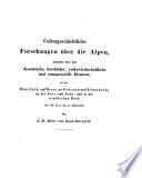 Culturgeschichtliche Forschungen über die Alpen