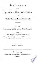 Beiträge zur Sprach-Characteristik der Schriftsteller des Neuen Testaments