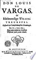 Don Louis De Vargas Of Edelmoedige Wraak