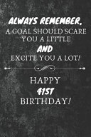 Always Remember A Goal Should Scare You A Little And Excite You A Lot Happy 41st Birthday