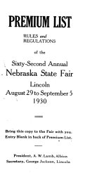 Premium List Rules And Regulations Of The Annual Nebraska State Fair