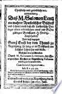 Christliche vnd gründliche verantwortung. Daß M. Salomon Lentz ein wahrer Apostolischer Bischoff vnd Lehrer vnnd daß alle Lutherische Prediger einen ordentlichen vnnd vor Gott gültigen Beruff zum H. Predig-Ampt haben
