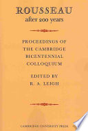 Rousseau After 200 Years  Proceedings of the Cambridge Bicentennial Colloquium