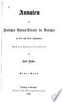 Annalen Der Poetischen National literatur Der Deutschen Im XVI  und XVII  Jahrhundert