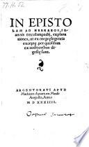 In Epistolam Ad Hebraeos Explanationes