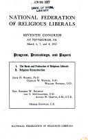 Seventh congress at Pittsburgh  Pa   March 6  7  and 8  1917