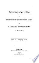 Sitzungsberichte der Bayerischen Akademie der Wissenschaften zu München, Mathematisch-Physikalische Klasse