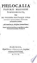 Philocalia sive de pulchra rectaque iuris civilis explicandi ratione ex Pandectis libellus