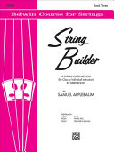 The Belwin string builder  More 3rd position  shifting positions  minor scales  major scales on A and E flat  sixteenth notes  triplets  double stops  harmonics  and spiccato stroke