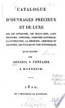 Catalogue d'ouvrages précieux et de luxe ... chez Artaria et Fontaine