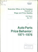 Auto Parts Price Behavior 1971 1976