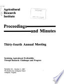Proceedings and Minutes  Annual Meeting of the Agricultural Research Institute Book PDF