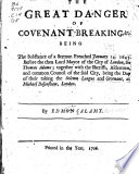 The Great Danger of Covenant breaking   c