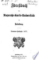Adressbuch der Ruprecht Karls Universit  t in Heidelberg