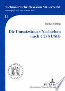 Die Umsatzsteuer-Nachschau nach § 27b UStG