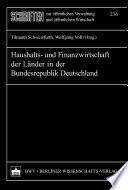 Haushalts- und Finanzwirtschaft der Länder in der Bundesrepublik Deutschland