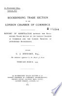 Report of Arbitration Between the Bookbinding Trade Section of the London Chamber of Commerce and the London Societies of Journeymen Bookbinders