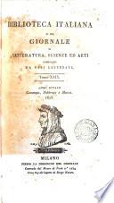 Biblioteca Italiana o sia Giornale di Letteratura  Scienze ed Arti Tomo XXIX