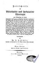 Zeitschrift f  r Philosophie und spekulative Theologie