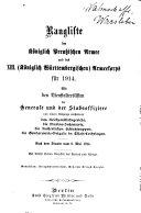 Rangliste der K  niglich Preussischen Armee und des XIII  K  niglich W  rttembergischen  Armeekorps