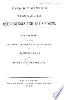 Über die Genesis wissenschaftlicher Entdeckungen und Erfindungen