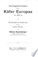 Die biologische Literature über die Käfer Europas von 1880 an